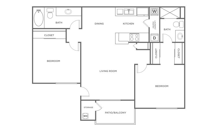 The Maple - 2 bedroom floorplan layout with 2 bath and 838 square feet