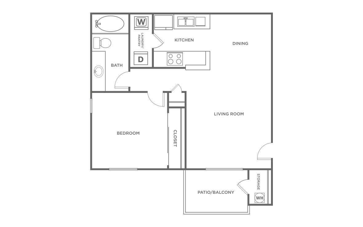 The Alder - 1 bedroom floorplan layout with 1 bath and 618 square feet (1st floor 2D)