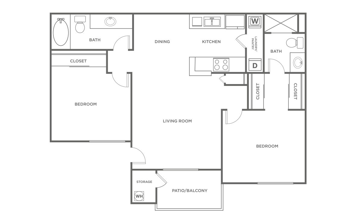The Maple - 2 bedroom floorplan layout with 2 bath and 838 square feet (1st floor 2D)